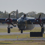 Date: 2/14/12 - Location: KSRQ Dep/Arv/Enr: n/a - RW/Taxi/Ramp: Rectrix ramp Manufacturer: Consolidated Aircraft Model: B-24J - Reg/Nmb: N224J Markings: Audre/